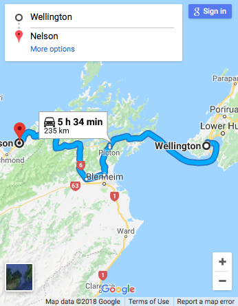 Wellington to Nelson Google Map