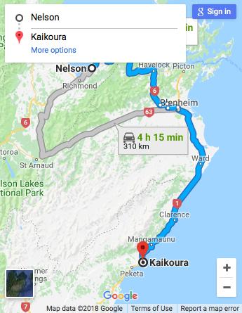 Nelson to Kaikoura Google Map