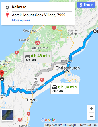 Kaikoura to Mount Cook Google Map