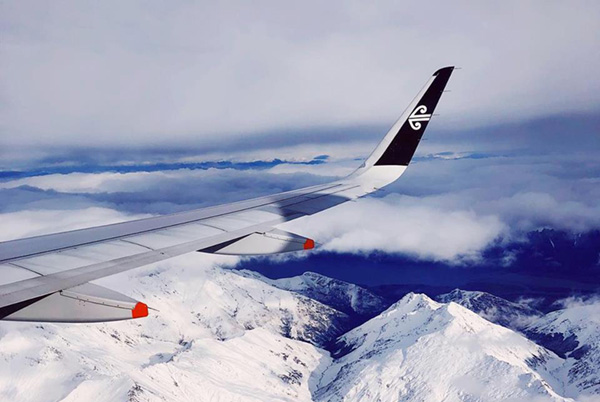 Mountain views on a New Zealand domestic flight
