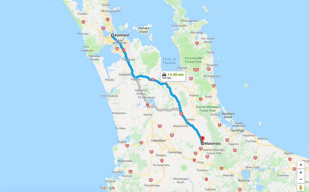 Auckland to Matamata (Hobbiton) Itinerary Map