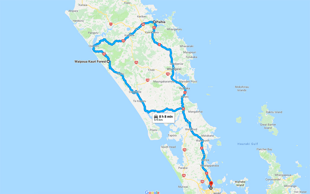 Auckland to Northland Itinerary Map