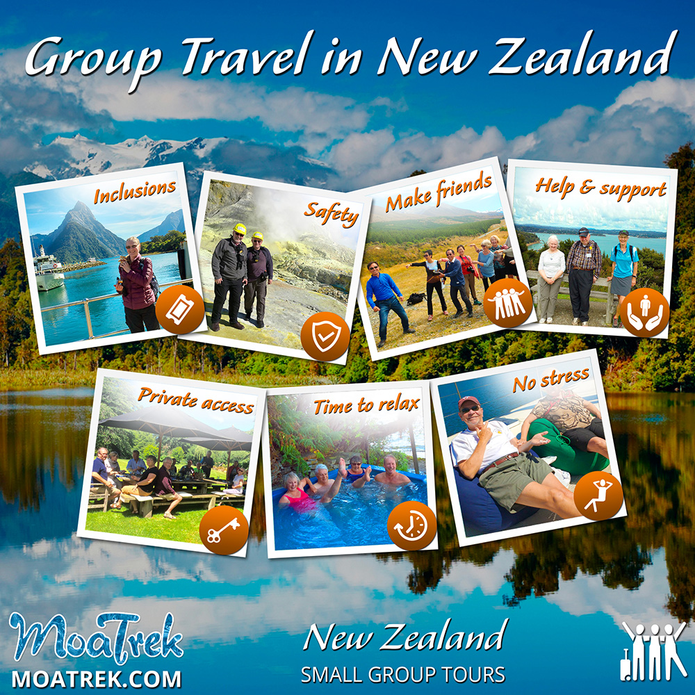 Infographic showing the advantages of Group Travel in New Zealand