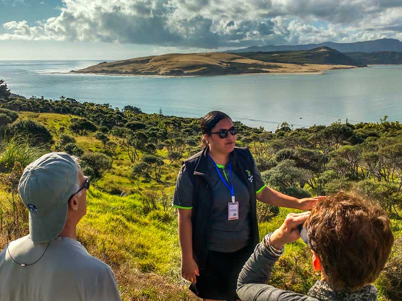 Tour guide and guests at the Hokianga Harbour lookout