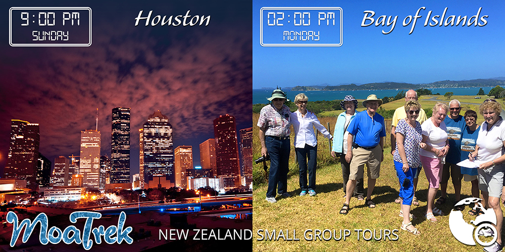 Time differences between Houston and the Bay of Islands, New Zealand