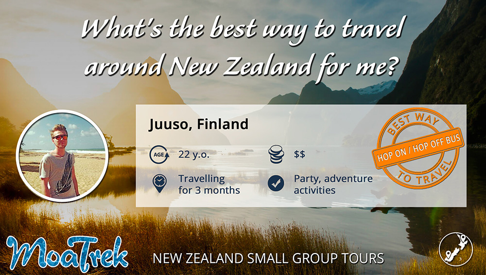 Best way to travel around New Zealand infographic for a backpacker
