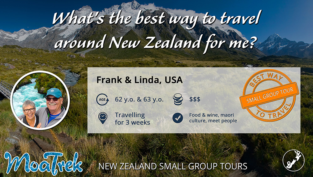 Infographic on how to travel around New Zealand for retired US couple