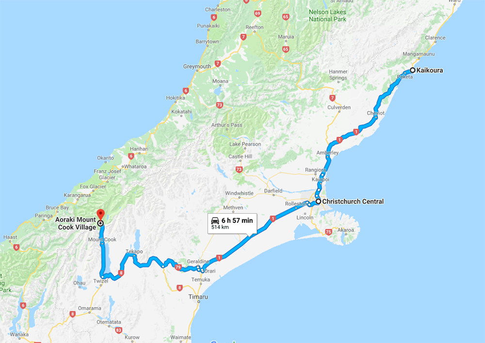 Itinerary Route Map from Kaikoura to Christchurch to Aoraki Mt Cook