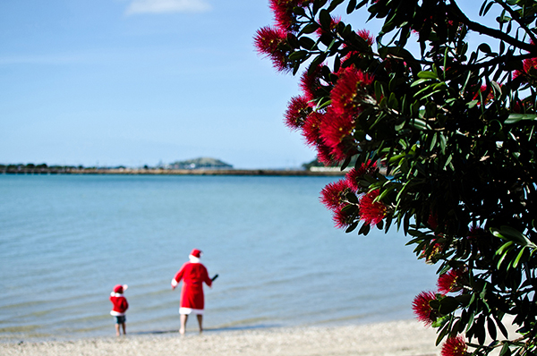 Santa Claus at the beach - Move to New Zealand