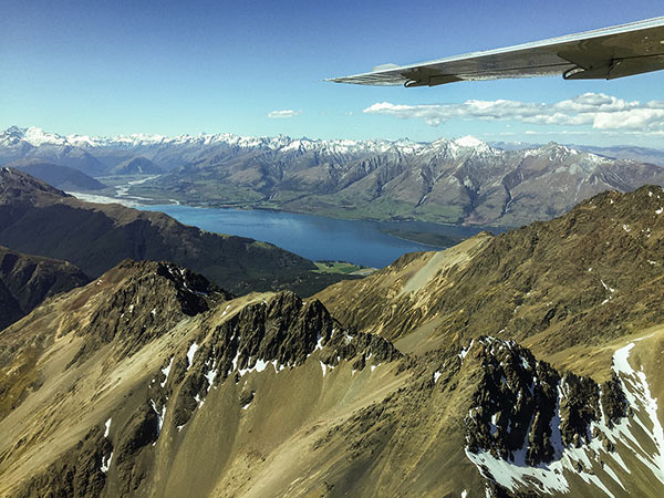 Aerial views of Lake Wakatipu and Mt Aspiring National Park