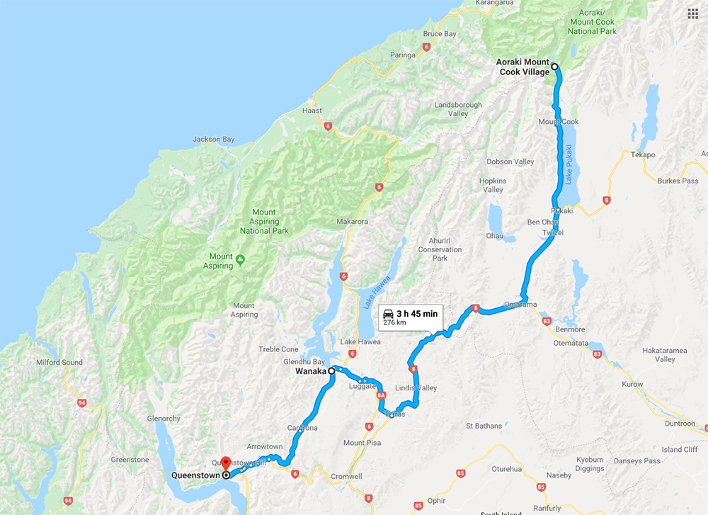 Itinerary Map from Mt Cook to Wanaka to Queenstown