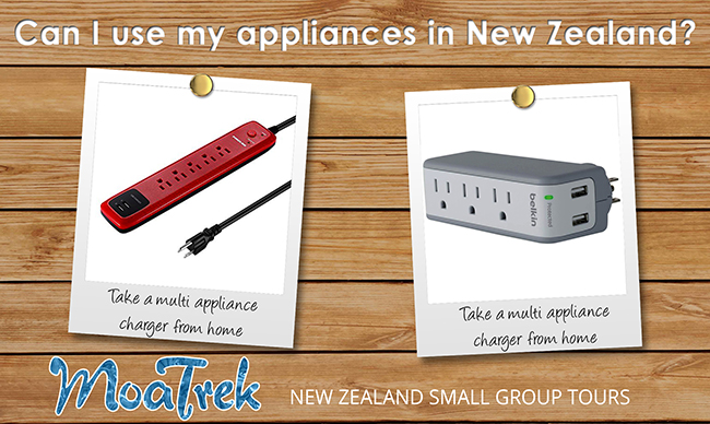 Multi applicance chargers for travel to New Zealand