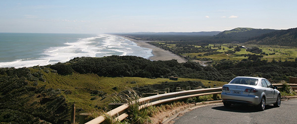 Ocean views from the Muriwai Beach road