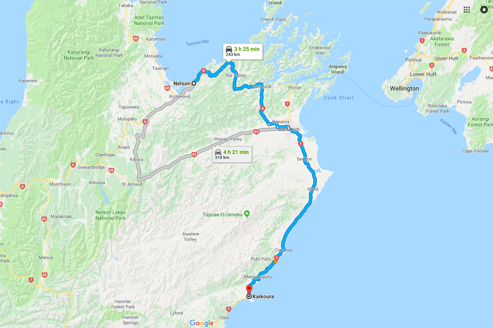 Nelson to Kaikoura Itinerary Map