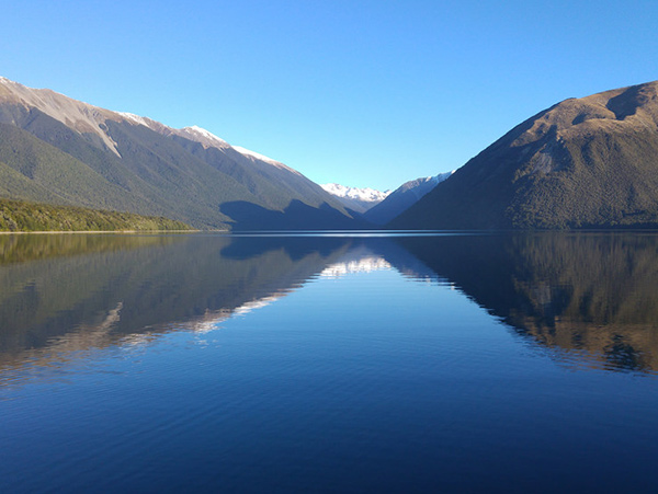 Lake Rotoiti mountains and reflection, Nelson Lakes National Park