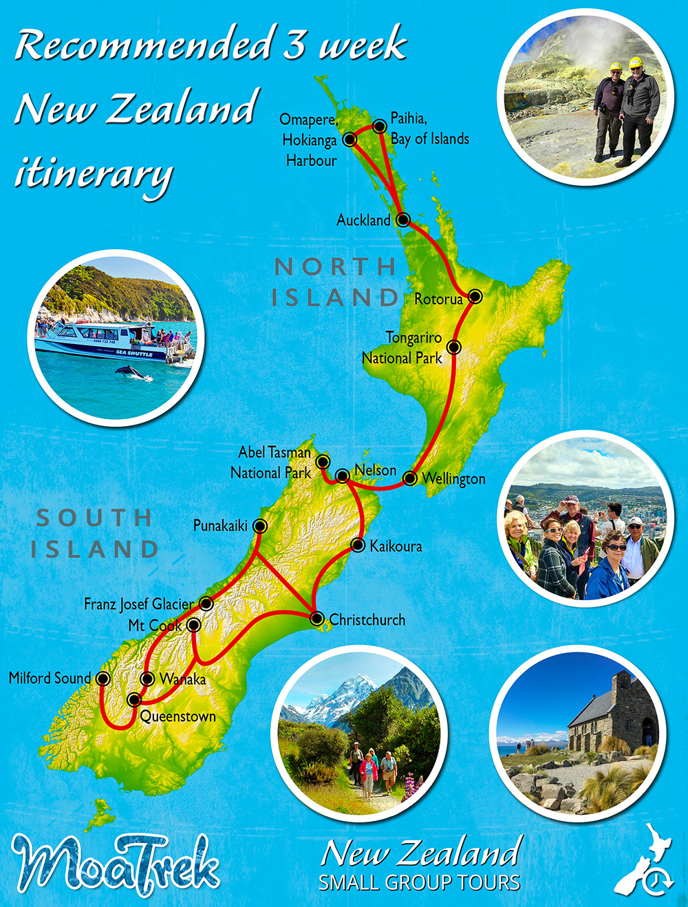 New Zealand Sightseeing Map.How Long Should I Visit New Zealand For Moatrek Tours