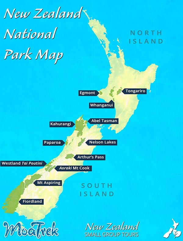 New Zealand Map showing locations of National Parks