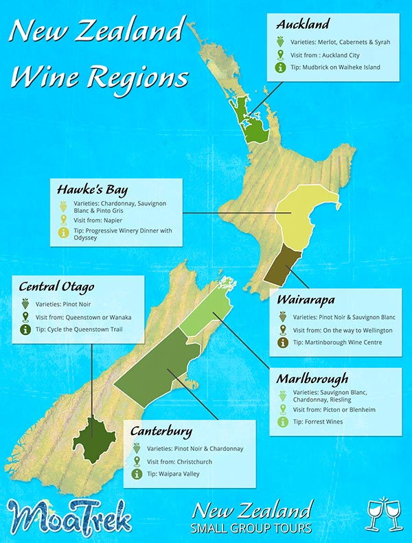 New Zealand map showing the major wine regions