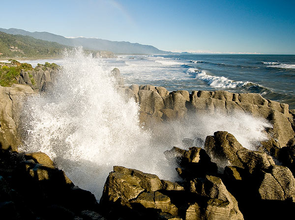 The blowholes at the Pancake Rocks, Paparoa National Park