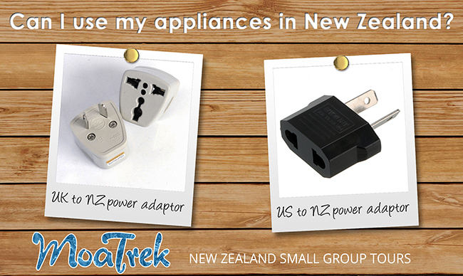 US and UK power adaptors for travel to New Zealand