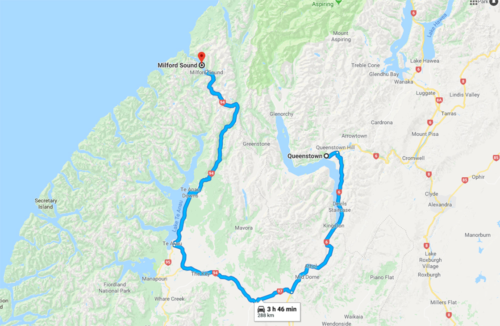 Queenstown to Milford Sound Itinerary Route Map