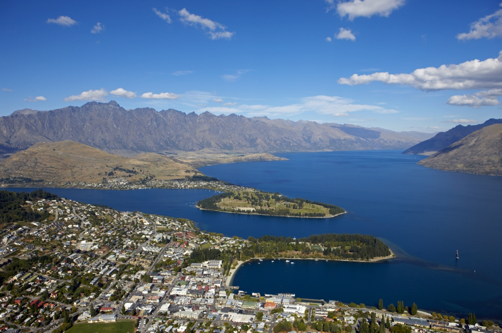 Queenstown aerial shot from the top of the Gondola