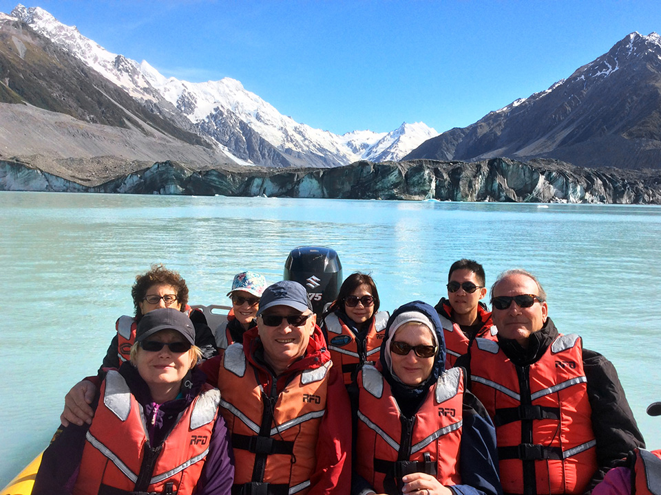 Safe in lifejackets on the Tasman Glacier lake