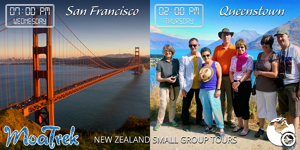 Time differences between San Francisco and Queenstown