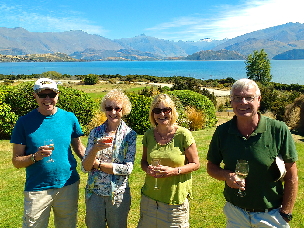 Enjoying New Zealand wine on the lawn at Lake Wanaka