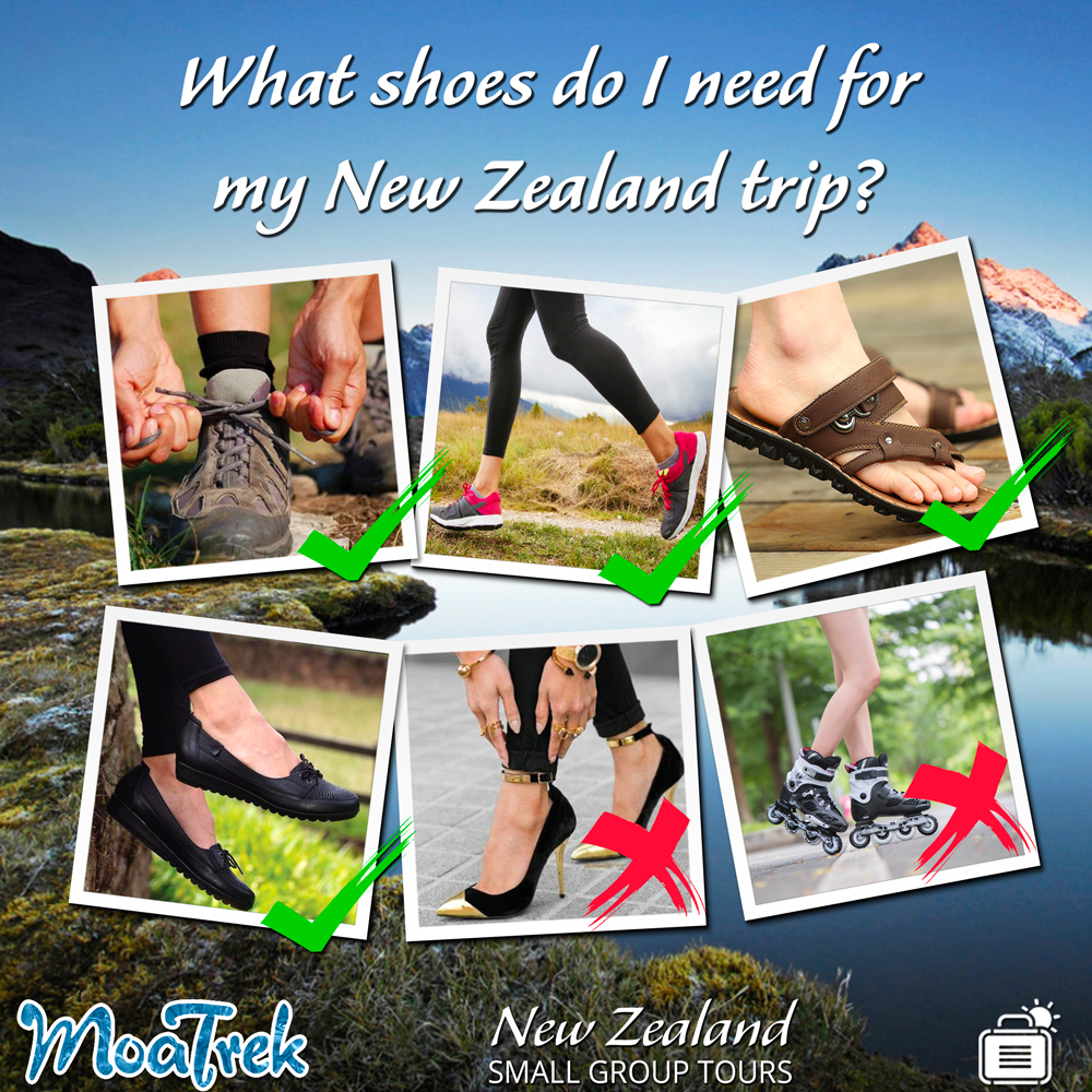 Examples of what footwear to pack for New Zealand travel