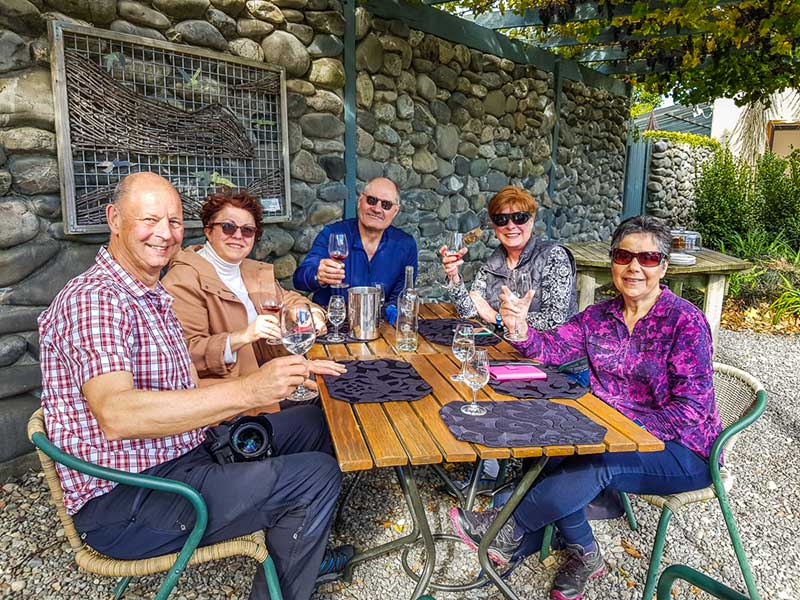 Travellers enjoying new spring releases at a winery in Marlborough