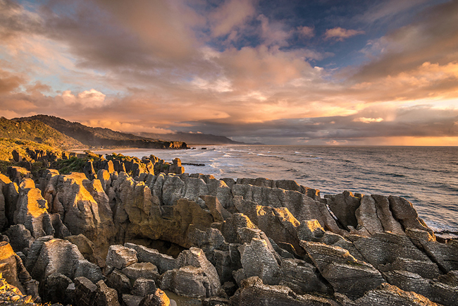 Sunset colours across the Pancake Rocks, Punakaiki New Zealand