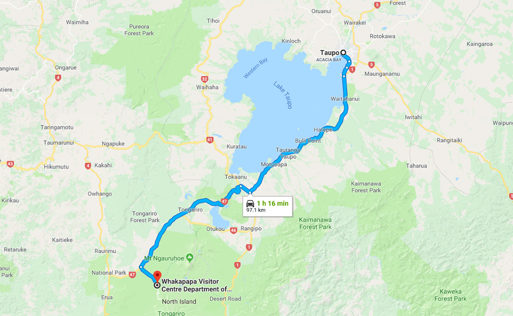 Taupo Tongariro National Park Itinerary Map