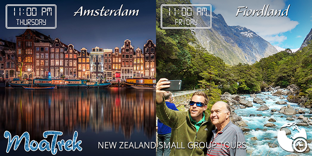 Time difference between Amsterdam and New Zealand