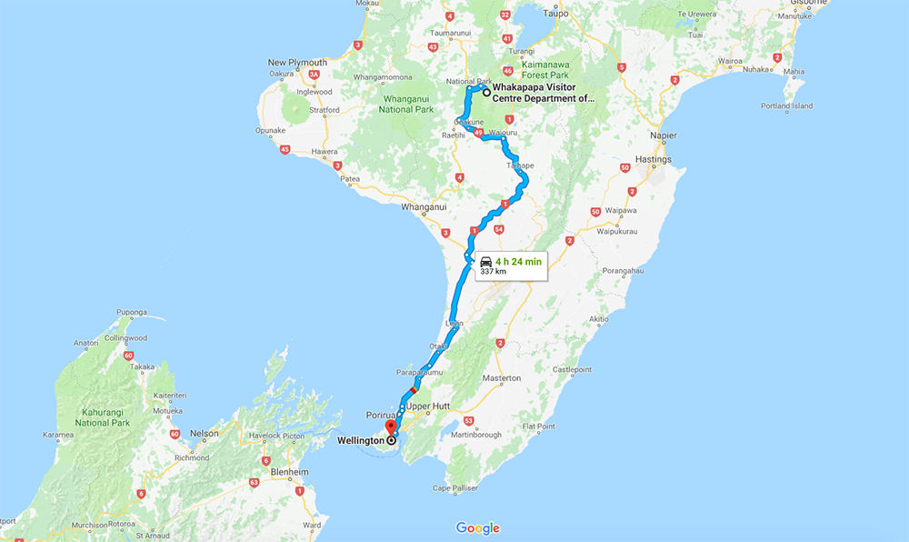 Tongariro National Park Wellington Itinerary Map