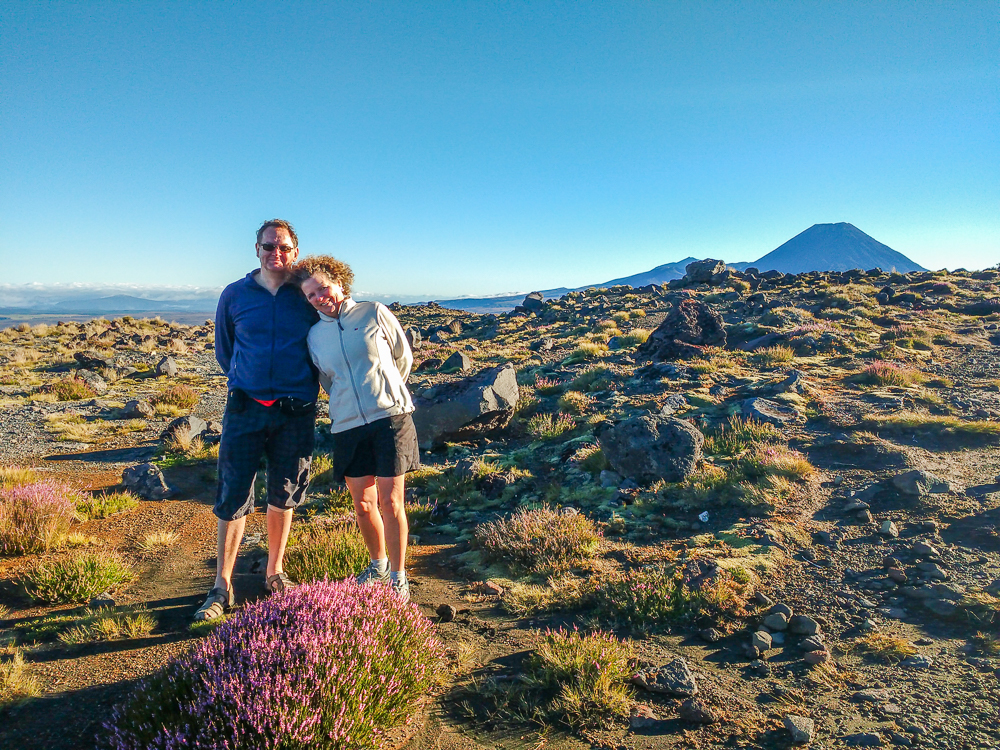Couple enjoying volcanic landscape at Tongariro National Park