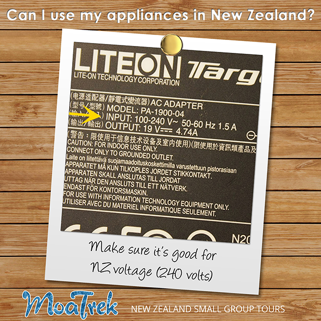 Voltage label on appliance suitable for New Zealand - MoaTrek