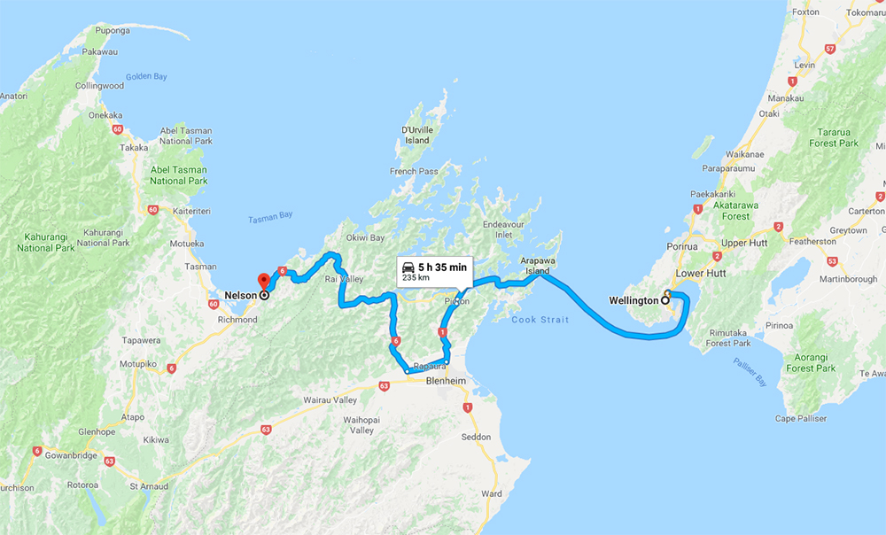 Wellington to Nelson Itinerary Map