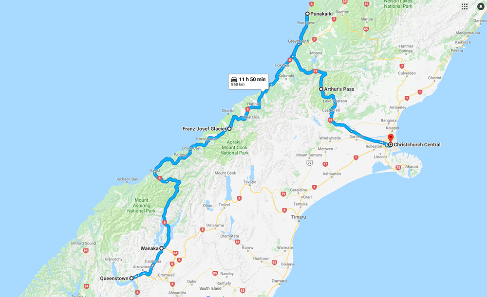 Queenstown - Franz Josef - Punakaiki - Arthurs Pass - Christchurch - Itinerary Map