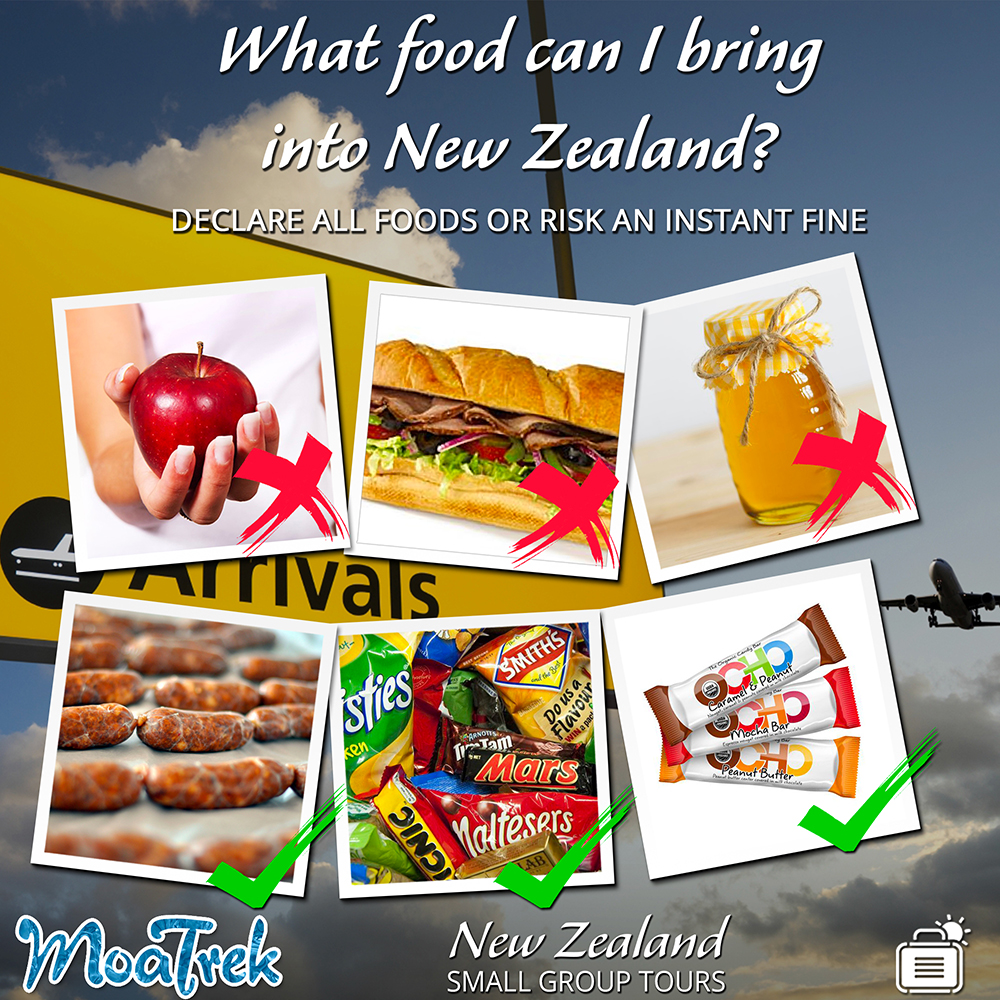 Photos of food types you can and can't bring into New Zealand