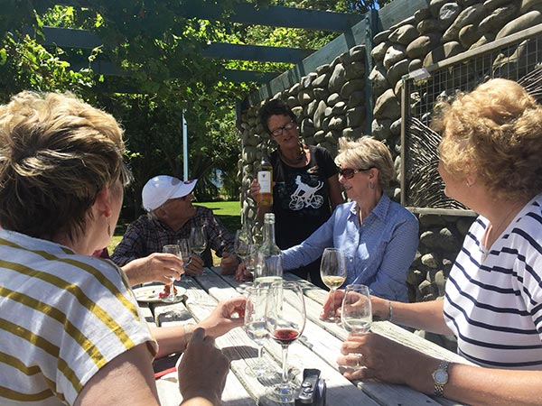 Small group enjoying wine tasting in Marlborough
