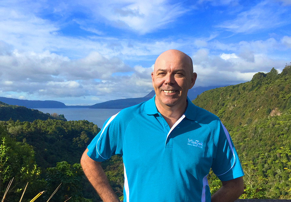 Steve from MoaTrek at the Lake Tarawera lookout