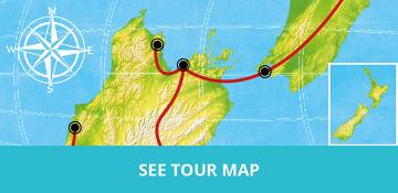 MoaTrek Kaka 17 Day Tour Map North and South Island