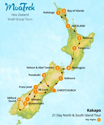 MoaTrek Kakapo 21 Day North & South Island Tour Map