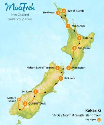 MoaTrek Kakariki 16 Day North & South Island Tour Map