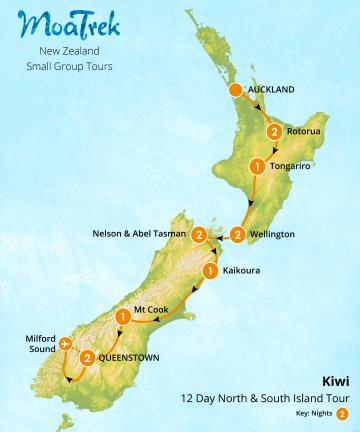 MoaTrek Kiwi 12 Day Tour North & South Island Tour Map