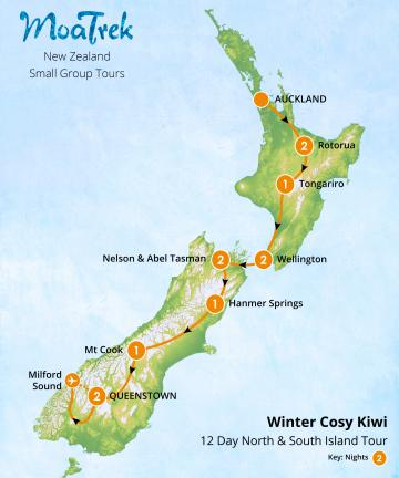 Cosy Kiwi Winter 12 Day North & South Island Tour Map