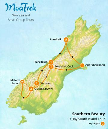 MoaTrek Southern Beauty 9 day South Island Tour Map