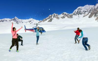 Playing in the snow, Franz Josef glacier landing