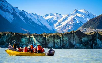 A cruise boat on the Tasman Glacier lake, Mount Cook